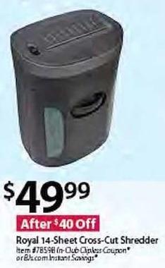 BJs Wholesale Black Friday: Royal 14-Sheet Cross-Cut Shredder for $49.99