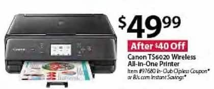 BJs Wholesale Black Friday: Canon TS6020 Wireless All-in-One Printer for $49.99