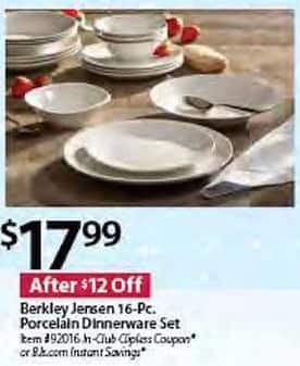 BJs Wholesale Black Friday: Berkley Jensen 16-pc Porcelain Dinnerware Set for $17.99
