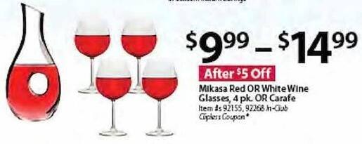 BJs Wholesale Black Friday: Mikasa Red or White Wine Glass 4 Pack or Carafe for $9.99 - $14.99