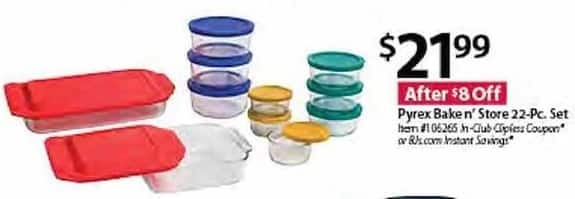 BJs Wholesale Black Friday: Pyrex Bake n' Store 22-pc Set for $21.99