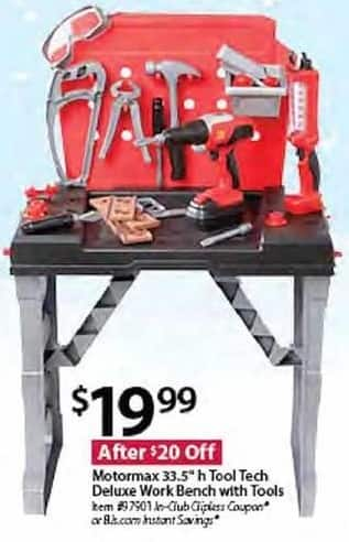 "BJs Wholesale Black Friday: Motormax 33.5"" Tool Tech Deluxe Work Bench w/ Tools for $19.99"