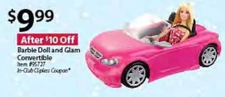 BJs Wholesale Black Friday: Barbie Doll and Glam Convertible for $9.99