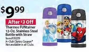 BJs Wholesale Black Friday: Thermos FUNtainer 12-oz Stainless Steel Bottle w/ Straw for $9.99