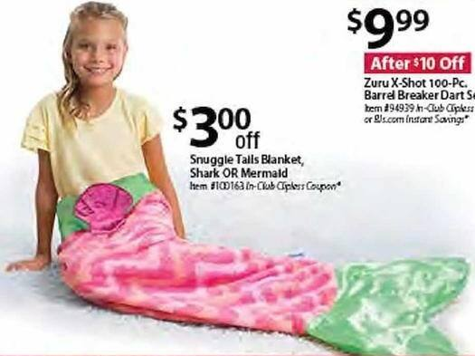 BJs Wholesale Black Friday: Snuggle Tails Shark or Mermaid Blanket - $3 Off