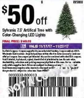 "BJs Wholesale Black Friday: Sylvania 7.5"" Artificial Tree w/ Color-Changing LED Lights - $50 Off"