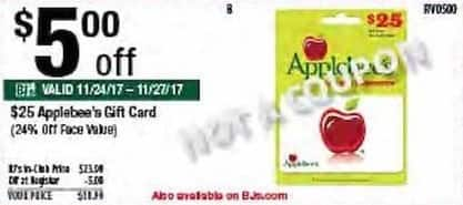 BJs Wholesale Black Friday: Applebee's Gift Card for $18.99