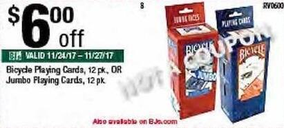 BJs Wholesale Black Friday: Bicycle Playing Cards or Jumbo Playing Cards 12 Packs - $6 Off