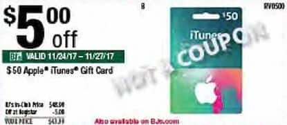BJs Wholesale Black Friday: $50 Apple iTunes Gift Card for $43.99