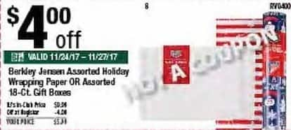 BJs Wholesale Black Friday: Berkley Jensen Assorted Holiday Wrapping Paper or Assorted 18-ct Gift Boxes for $5.99