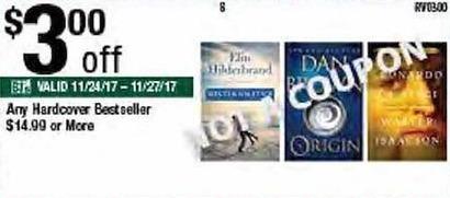 BJs Wholesale Black Friday: Any Hardcover Best Seller $14 or More - $3 Off