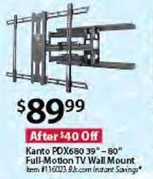 """BJs Wholesale Black Friday: Kanto PDX680 39"""" - 80"""" Full-Motion TV Wall Mount for $89.99"""