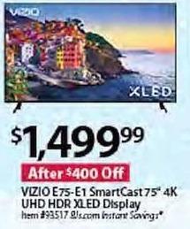 "BJs Wholesale Black Friday: VIZIO 75"" E75-E1 4K UHD HDR SmartCast XLED Display for $1,499.99"