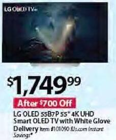 "BJs Wholesale Black Friday: LG 55B7P 55"" 4K UHD Smart OLED TV w/ White Glove Delivery for $1,749.99"