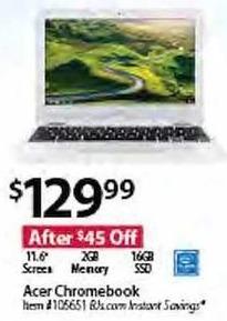 "BJs Wholesale Black Friday: Acer 11.6"" Chromebook: Intel N2840, 2GB, 16GB SSD for $129.99"