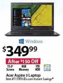 "BJs Wholesale Black Friday: Acer Aspire 3 15.6"" Laptop: 8GB, 1TB HDD, Win 10 for $349.99"