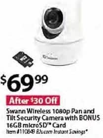 BJs Wholesale Black Friday: Swann Wireless 1080p Pan and Tilt Security Camera + 16GB MicroSD Card for $69.99