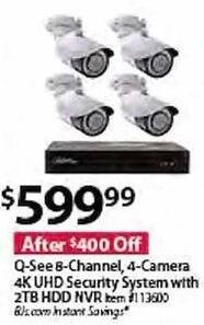BJs Wholesale Black Friday: Q-See 8-Channel 4-Camera 4K UHD Security System w/ 2TB HDD NVR for $599.99