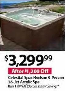 BJs Wholesale Black Friday: Celestial Spas Hudson 5-Person 26-Jet Acrylic Spa for $3,299.99