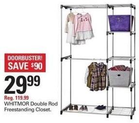 Shopko Black Friday: Whitmor Double Rod Freestanding Closet for $29.99