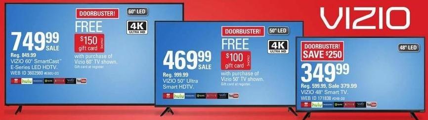 """Shopko Black Friday: 60"""" Vizio E-Series 4K SmartCast LED HDTV + $150 Shopko Gift Card for $749.99"""