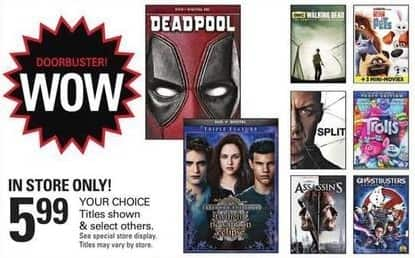 Shopko Black Friday: Select Blu-Rays and DVDs: Deadpool, Secret Life of Pets & More for $5.99