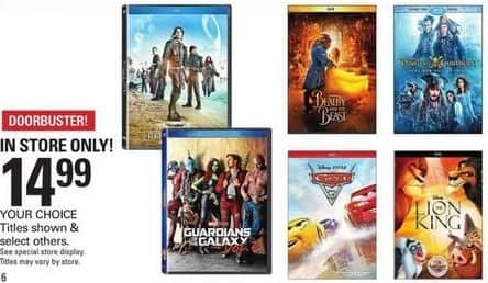 Shopko Black Friday: Select Blu-Rays and DVDs: Guardians of the Galaxy Volume 2, Beauty and the Beast & More for $14.99