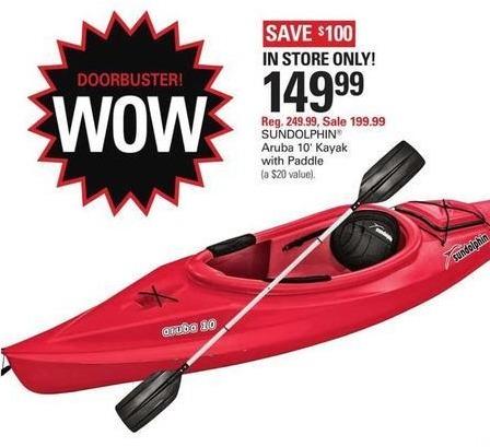 Shopko Black Friday: Sun Dolphin Aruba 10' Kayak w/ Paddle for $149.99