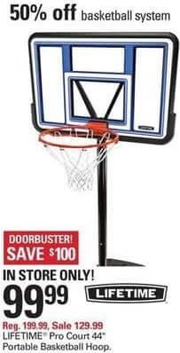 """Shopko Black Friday: Lifetime Pro Court 44"""" Portable Basketball Hoop for $99.99"""