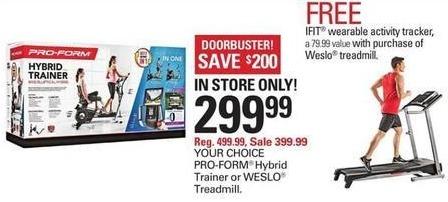 Shopko Black Friday: Pro-Form Hybrid Trainer or Weslo Treadmill for $299.99