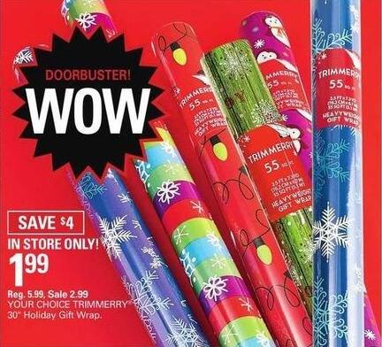"""Shopko Black Friday: TrimMerry 30"""" Holiday Gift Wrap for $1.99"""