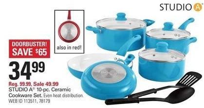 Shopko Black Friday: Studio A 10-pc Ceramic Cookware Set for $34.99