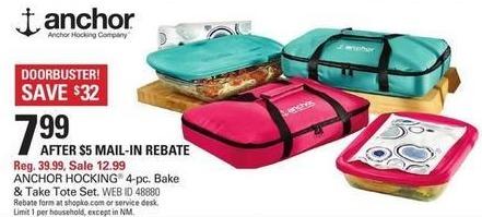 Shopko Black Friday: Anchor Hocking 4-pc Bake & Take Tote Set for $7.99 after $5.00 rebate