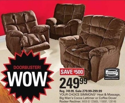 Shopko Black Friday: Simmons Big Man's Cocoa Lattimer Rocker Recliner for $249.99