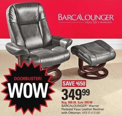 Shopko Black Friday: Barcalounger Warner Pedestal Faux Leather Recliner w/ Ottoman for $349.99