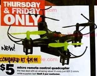 Five Below Black Friday: Micro Remote Control Quadcopter for $5.00
