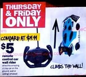 Five Below Black Friday: Remote Control Car Wall Rider for $5.00