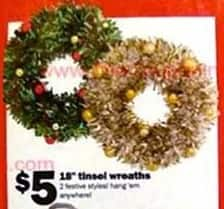 """Five Below Black Friday: 18"""" Tinsel Wreaths for $5.00"""