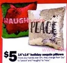"Five Below Black Friday: 14""x14"" Holiday Sequin Pillows for $5.00"