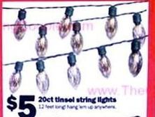 Five Below Black Friday: 20-ct Tinsel String Lights for $5.00