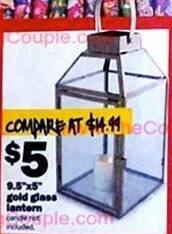 "Five Below Black Friday: 9.5""x5"" Gold Glass Lantern for $5.00"