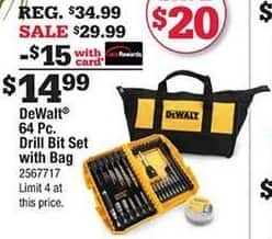 Ace Hardware Black Friday: DeWalt 64-pc Drill Bit Set and Bag w/Card for $14.99
