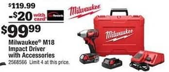 Ace Hardware Black Friday: Milwaukee M18 Impact Driver and Accessories w/Card for $99.99