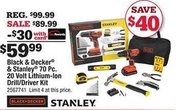 Ace Hardware Black Friday: Black & Decker and Stanley 70-pc 20 Volt Lithium-Ion Drill/Driver Kit w/Card for $59.99