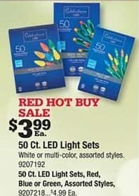 Ace Hardware Black Friday: Celebrations 50-ct Red, Blue or Green LED Light Sets, Assorted Styles for $4.99