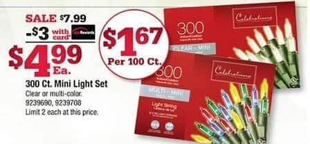 Ace Hardware Black Friday: Celebrations 300-ct Clear or Multi-color Mini Light Set w/Card for $4.99