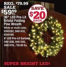 "Ace Hardware Black Friday: 36"" LED Pre-Lit Bristol Folding Pine Wreath for $59.99"