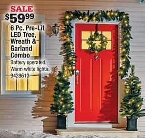 Ace Hardware Black Friday: 6-pc Pre-Light LED Tree, Wreath and Garland Combo for $59.99