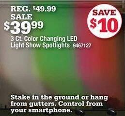 Ace Hardware Black Friday: 3-ct Color Changing LED Light Show Spotlights for $39.99