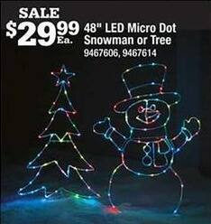 "Ace Hardware Black Friday: 48"" LED Micro Dot Snowman or Tree for $29.99"